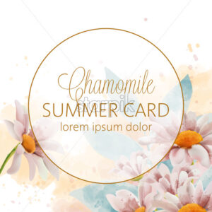 Chamomile flowers summer card with place for text in golden circle. Watercolor. Vector - Starpik Stock