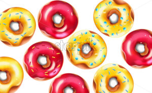 Colorful composition with glazed pink and yellow sprinkled donuts. Vector - Starpik Stock