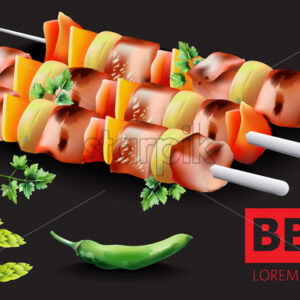 Composition of barbeque ,hot green pepper, asparagus and parsley with place for text. Dark background. Vector - Starpik Stock