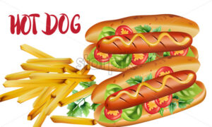 Composition of two hot dogs with cherry tomatoes, basil, parsley and mustard, near a portion of fries. Unhealthy food. Vector - Starpik Stock