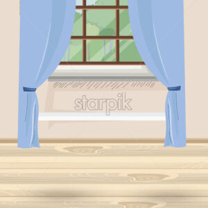 Cozy house with blue curtains and window with view to nature and trees. Wood floor. Vector - Starpik Stock
