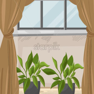 Cozy house with brown curtains and green flowers growing below the window. Wood floor. Vector - Starpik Stock