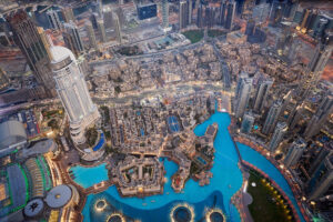 Dubai Cityscape at sunset from tallest building view. United Arab Emirates - Starpik Stock