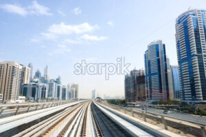Dubai Metro rail road at daylight. United Arab Emirates - Starpik Stock