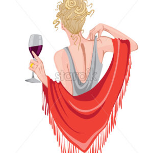 Elegant woman with glass of wine in hands waving with red scarf. View from behind. Curly blonde hair. Vector - Starpik Stock