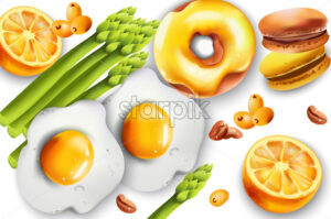 Food Composition with fried eggs, asparagus, donut, macarons, lemons, coffee beans and pyracantha berries. Vector - Starpik Stock