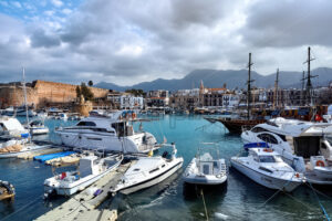 GIRNE, CYPRUS – FEBRUARY 15, 2020: Lots of moored boats and yachts in Kyrenia harbour - Starpik Stock