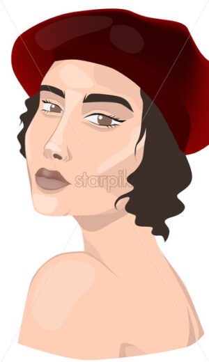Girl with burgundy beret, and naked shoulders. Portrait. Vector - Starpik Stock