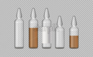 Glass tubes medicine vector realistic. Advertise banner medical pile of different treatment 3d illustration - Starpik Stock