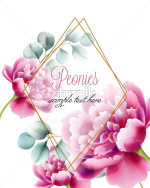 Greeting card with pink peonies flowers and twigs. Place for text in diamond frame. Watercolor. Vector - Starpik Stock