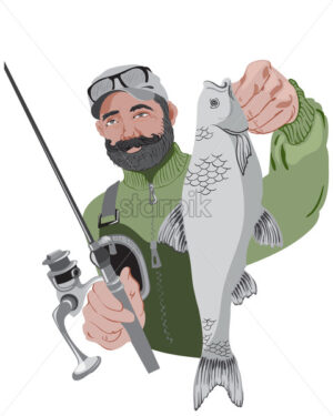 Happy bearded fisherman holding his fishing rod and a fish. Wearing green sweater. Vector - Starpik Stock