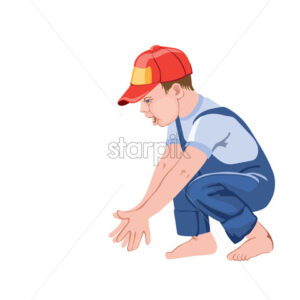 Happy little boy child clapping hands while squatting. Playing with something. Red cap and blue overall. Vector - Starpik Stock