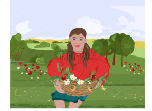 Happy woman with red lips and jacket sitting on grass while holding on her lap a basket with flowers. Mountains on background. Vector - Starpik Stock
