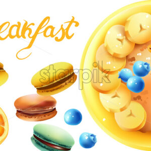 Healthy breakfast composition with a bowl of oatmeal, white cherries, blueberries, banana slices, cinnamon sticks, macarons and lemon. Vector - Starpik Stock