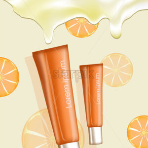 Illustration of two orange cream tubes with place for text on oranges pattern and cream background. Vector - Starpik Stock