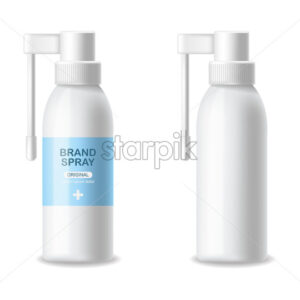 Inhaler container vector realistic. Advertise empty bottles Medicine 3d detailed illustration - Starpik Stock