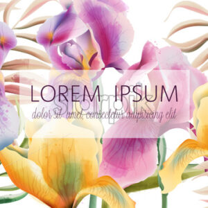 Iris flowers and tropical leaves pattern with place for text. Watercolor. Vector - Starpik Stock