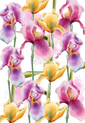 Iris flowers pattern. Watercolor. Hand drawn. Vintage design. Vector - Starpik Stock