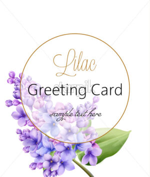 Lilac flower on white background with golden circle greeting card with place for text. Vector - Starpik Stock
