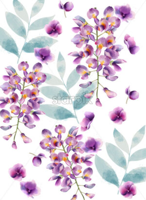 Lilac flowers and green leaves pattern. Watercolor. Vector - Starpik Stock
