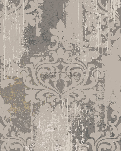 Luxury ornament on grunge background. Vintage Victorian texture. Gray color. Vector - Starpik Stock