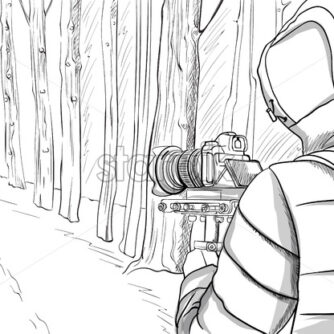 Man in winter clothes shooting video with stabilizer in the forest. Line art. Vector - Starpik Stock