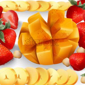 Mango and stawberry Vector. Tropic exotic fruits platter. fresh juicy composition - Starpik Stock