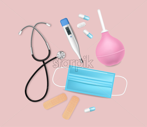 Medical equipment Vector realistic. Advertise banner with protection mask. test, needls and thermometer 3d illustration - Starpik Stock