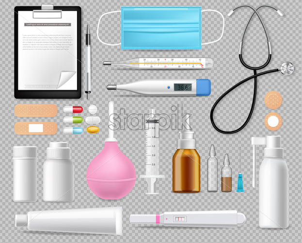 Medical equipment set isolated on white Vector realistic. Advertise banner with protection mask. test, needls and thermometer 3d illustration - Starpik Stock