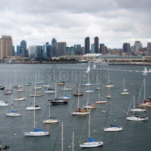 Multiple moored yachts with high modern buildings on the background in San Diego - Starpik Stock