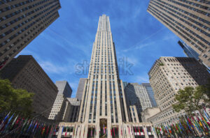 NEW YORK, USA- 20 SEPTEMBER, 2019: facade of the General Electric Building, 30 Rockefeller Plaza - Starpik Stock