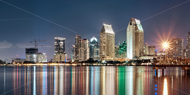 Night downtown cityscape with pier on foreground. Colorful lights. San Diego, California - Starpik Stock