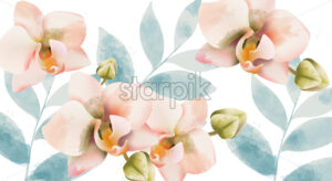 Orchid bouquet background. Watercolor. Spring flowers. Vintage wedding card. Vector - Starpik Stock