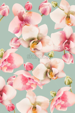 Orchid bouquet pattern background. Watercolor. Spring flowers. Vector - Starpik Stock