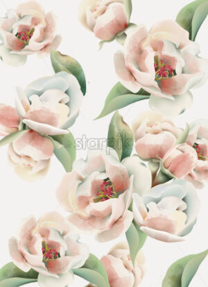 Pale pink peony pattern with green leaves. Watercolor. Vector - Starpik Stock
