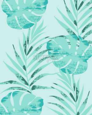 Palm leaves pattern on light blue background. Grunge design. Vector - Starpik Stock