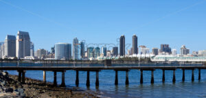 Panorama of a pier in San Diego with cityscape on background. California - Starpik Stock
