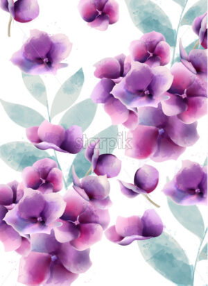 Pansy summer flowers and leaves pattern. Watercolor. Vector - Starpik Stock