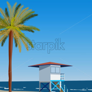 Peisage of seashore with palms and lifeguard hut. Blue clear sky. Vector - Starpik Stock