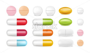 Pills vector realistic. Advertise banner medical pile of different medicine 3d illustration - Starpik Stock