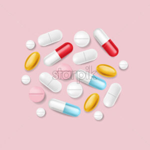 Pills vector realistic. Advertise banner medical pile of different medicines 3d illustration - Starpik Stock