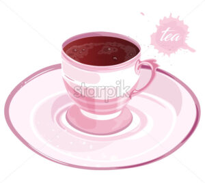 Pink cup of black tea on saucer. Elegant drinking. Vector - Starpik Stock