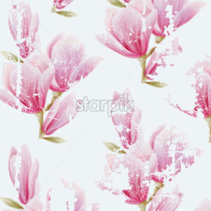 Pink fairy lily flower pattern. Grunge design. Watercolor. Vector - Starpik Stock