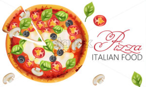 Pizza with basil leaves, tomatoes, sauce, mozzarella cheese, mushrooms and black olives. Italian food Vector - Starpik Stock