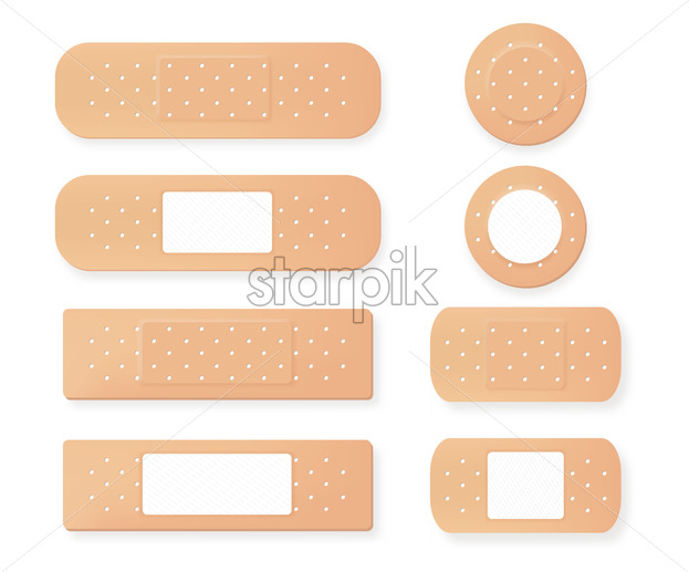 Plaster medical vector realistic. Advertise banner medical 3d illustration - Starpik Stock