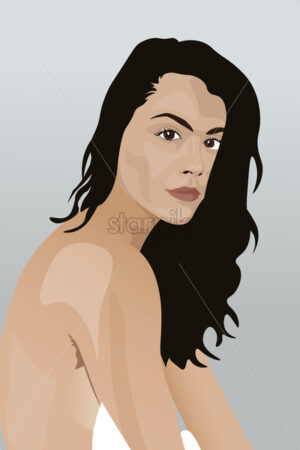Portrait of a young naked brunette with a straight face. Vector - Starpik Stock