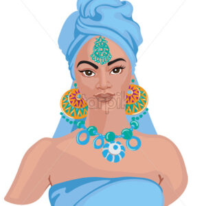 Portrait of elegant woman wearing indian ornaments. Wearing blue hijab, ornamented earrings, necklace and jewellery on forehead. Vector - Starpik Stock