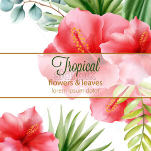 Red hibiscus. Palm leaves. Tropical flowers and leaves with place for text. Vector - Starpik Stock