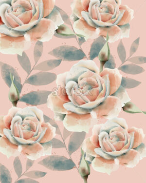Rose and leaves pattern. Watercolor. Vintage design. Pastel colors. Vector - Starpik Stock