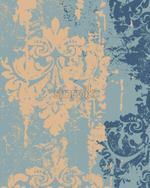 Royal decor in grunge design. Luxury baroque texture. Yellow and blue color. Vector - Starpik Stock